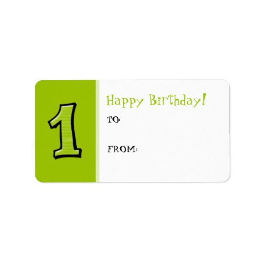 Silly Numbers 1 green Birthday Gift Tag Label