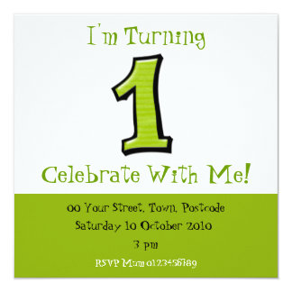 Silly Numbers 1 green Birthday Invitation