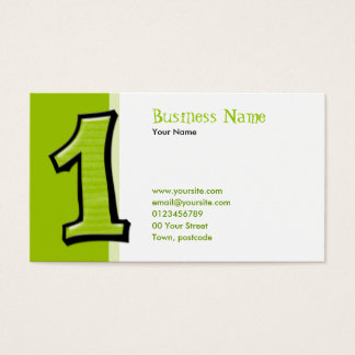 Silly Numbers 1 green Business Card