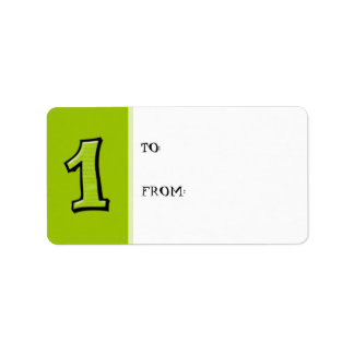 Silly Numbers 1 green Gift Tag Label