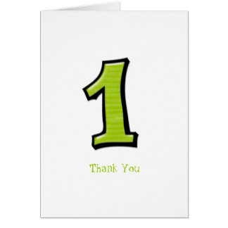 Silly Numbers 1 green Thank You Note Card