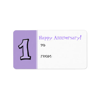 Silly Numbers 1 lavender Anniversary Gift Label