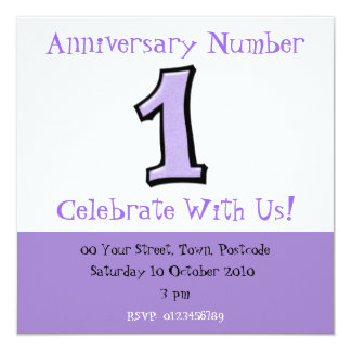 Silly Numbers 1 lavender Anniversary Invitation