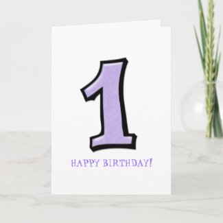 Silly Numbers 1 lavender Birthday Card card