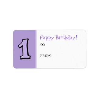 Silly Numbers 1 lavender Birthday Gift Label label