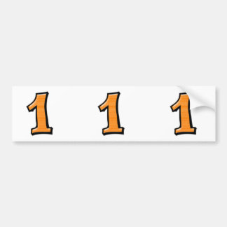 Silly Numbers 1 oange cutout Stickers