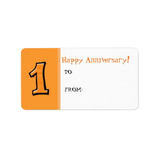 Silly Numbers 1 orange Anniversary Gift Label
