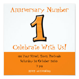 Silly Numbers 1 orange Anniversary Invitation