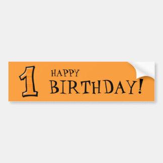 Silly Numbers 1 orange Birthday Bumper Sticker