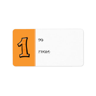 Silly Numbers 1 orange Gift Tag Label