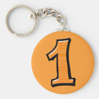 Silly Numbers 1 orange Keychain