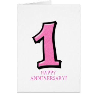 Silly Numbers 1 pink Anniversary Card