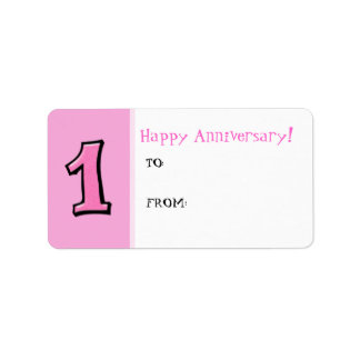 Silly Numbers 1 pink Anniversary Gift Tag Label
