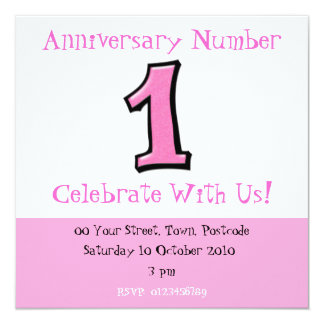 Silly Numbers 1 pink Anniversary Invitation