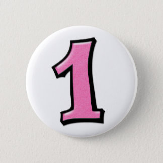 Silly Numbers 1 pink Button