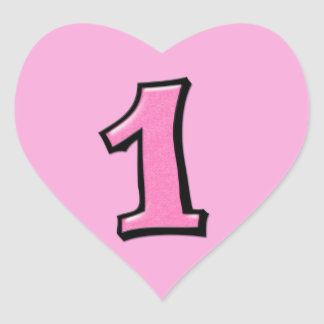 Silly Numbers 1 pink Heart Sticker