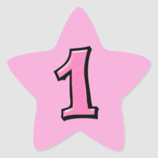 Silly Numbers 1 pink Star Sticker