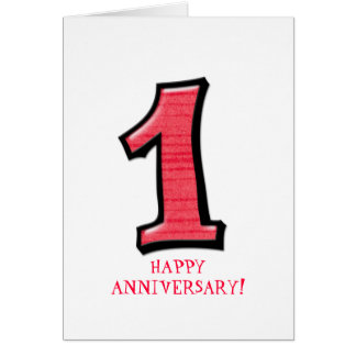 Silly Numbers 1 red Anniversary Card