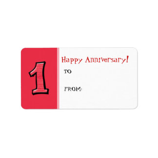 Silly Numbers 1 red Anniversary Gift Tag Sticker