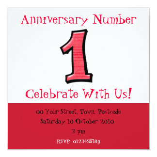 Silly Numbers 1 red Anniversary Invitation