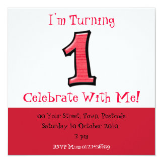 Silly Numbers 1 red Birthday Invitation