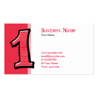 Silly Numbers 1 red Business Card