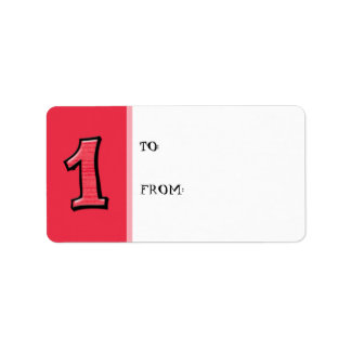 Silly Numbers 1 red Gift Tag Label