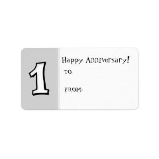 Silly Numbers 1 white Anniversary Gift Label