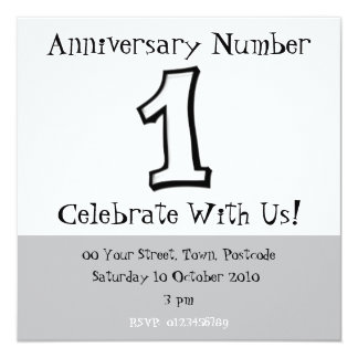 Silly Numbers 1 white Anniversary Invitation