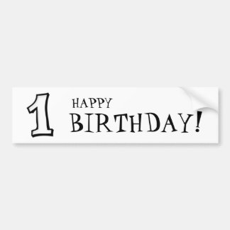 Silly Numbers 1 white Birthday Bumper Sticker