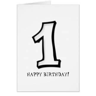 Silly Numbers 1 white Birthday Card