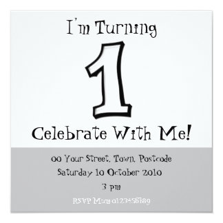 Silly Numbers 1 white Birthday Invitation