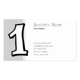 Silly Numbers 1 white Business Card