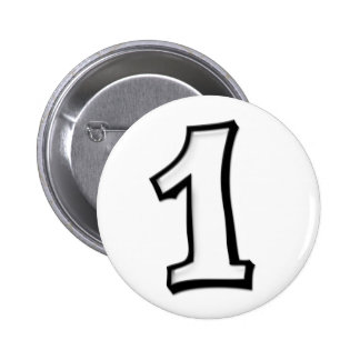 Silly Numbers 1 white Button
