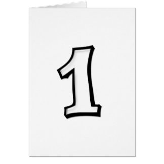 """Silly Numbers 1 white """"My Number One"""" Card"""