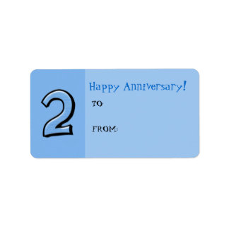 Silly Numbers 2 blue Anniversary Gift Tag Label
