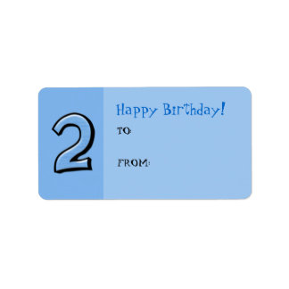 Silly Numbers 2 blue Birthday Gift Tag Label