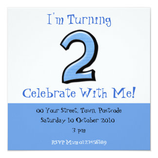 Silly Numbers 2 blue Birthday Invitation
