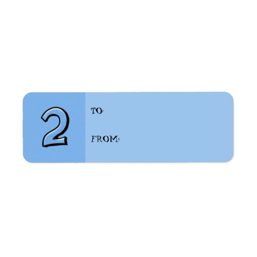 Silly Numbers 2 blue small Gift Tag Label Return Address Label