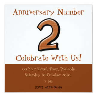 Silly Numbers 2 chocolate Anniversary Invitation