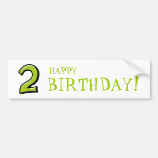 Silly Numbers 2 green Birthday Stickers