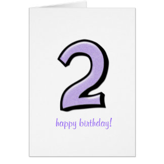 Silly Numbers 2 lavender Birthday Card