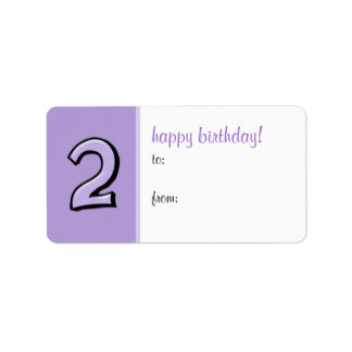 Silly Numbers 2 lavender Birthday Gift Tag Label