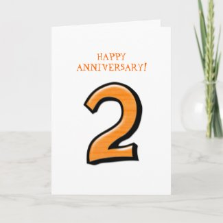 Silly Numbers 2 orange Anniversary Card card