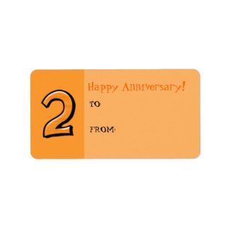 Silly Numbers 2 orange Anniversary Gift Label label