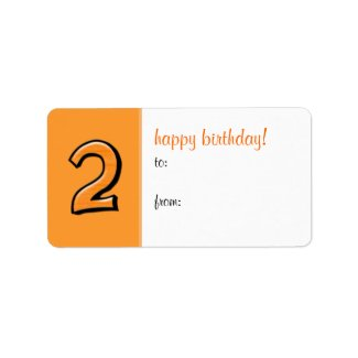 Silly Numbers 2 orange Birthday Gift Tag Label label