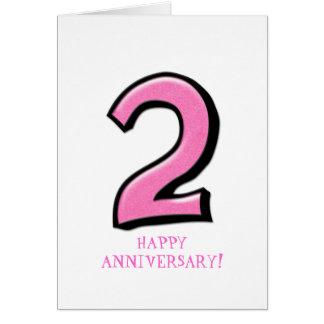 Silly Numbers 2 pink Anniversary Card