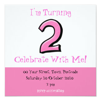 Silly Numbers 2 pink Birthday Invitation