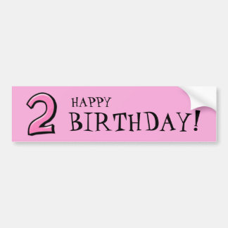 Silly Numbers 2 pink Birthday Stickers Car Bumper Sticker