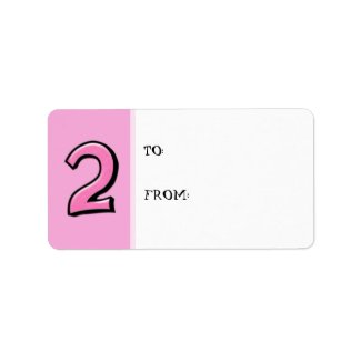 Silly Numbers 2 pink Gift Tag Label label